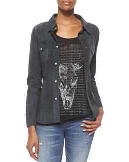 Short-Sleeve Longhorn Tee & Western Suede Snap-Front Shirt