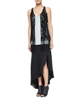 Suede Crochet Vest W/ Fringe, Scoop-Neck Racerback Tank & Asymmetric Silk Skirt with Leather Belt