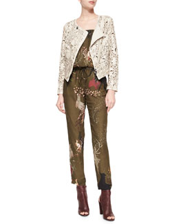 Floral Laser-Cut Leather Jacket & Birds-of-Paradise Silk Jumpsuit