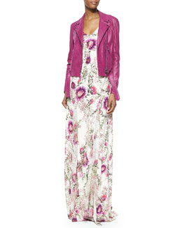 Belted Lambskin Leather Jacket & Spaghetti Strap Floral-Print Gown