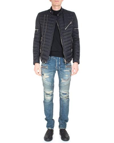 Asymmetric Puffer Moto Jacket, Crewneck Long-Sleeve Sweater & Distressed Slim-Leg Moto Denim
