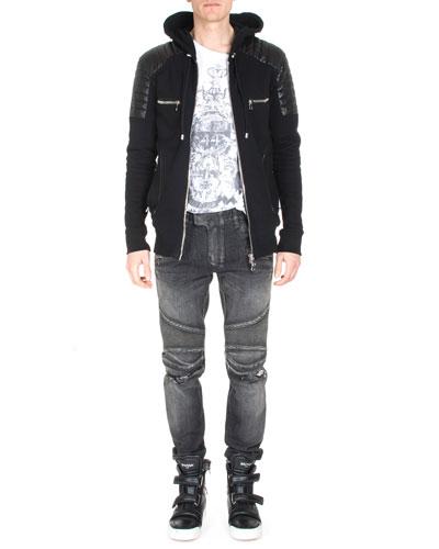 Long-Sleeve Zip Combo Hoodie, Phoenix Short-Sleeve T-Shirt & Distressed Slim-Leg Moto Denim