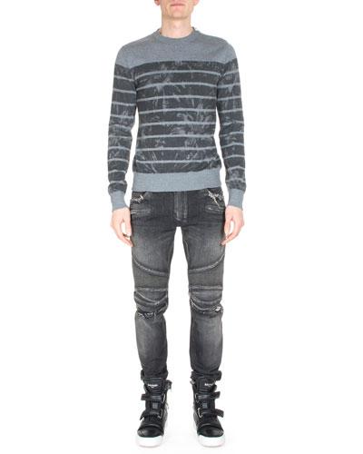 Floral-Print Stripe Sweater & Distressed Slim-Leg Moto Denim