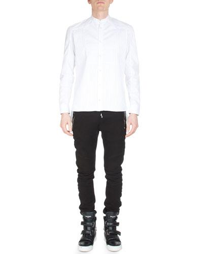 Banded-Collar Pleated-Front Tuxedo Shirt & Drawstring-Waist Jogger Pants