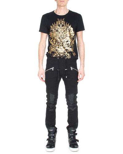Foil-Print Short-Sleeve T-Shirt & Moto Sweatpants w/Leather Trim