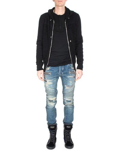 Striped Long-Sleeve Zip-Up Hoodie, Long-Sleeve Henley T-Shirt & Distressed Slim-Leg Moto Denim