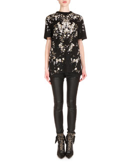 Pearlescent Beaded Tulle Top, Baby's Breath-Print Jersey Tee & Leather Lace-Up Back Combo Pants
