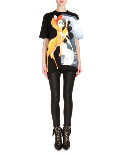 Oversized Graphic Print Tee & Leather Lace-Up Back Combo Pants