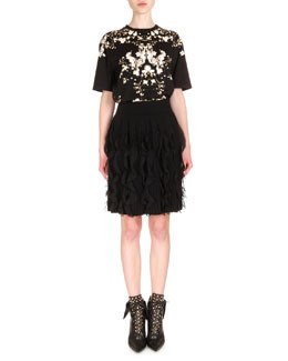 Baby's Breath-Print Jersey Tee & Ruffled Chiffon Accordion Pleated Skirt