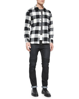 Wilsden Check-Print Flannel Shirt, Hallet Jersey Graphic Short-Sleeve Tee & Harpton Raw-Stretch Moto Jeans