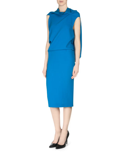 Eugene Draped-Back Wool Crepe Top & Arreton Double Crepe Pencil Skirt