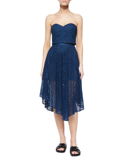 Hanae Eyelet Cropped Strapless Top & Peaked Skirt, Aegean Blue