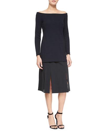 Off-the-Shoulder Jersey Top & Cuarteto Carwash-Hem Skirt