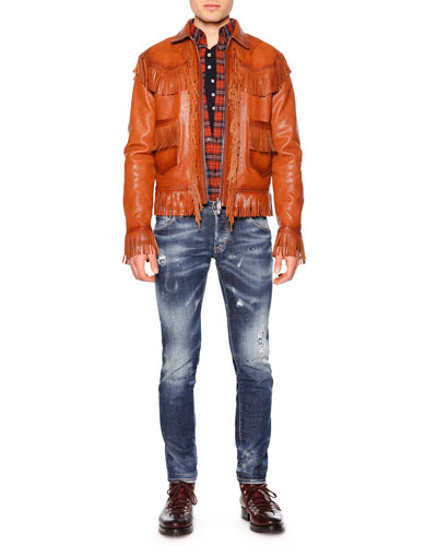 Fringe-Trim Leather Jacket, Plaid Button-Down Flannel Shirt & Paint-Splatter Distressed Denim Jeans
