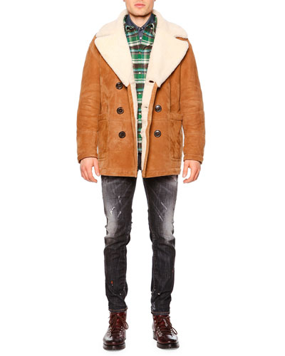 Long-Sleeve Shearling Fur-Collar Coat, Long-Sleeve Flannel Shirt w/Puffer Back, Micro-Jacquard Western Sport Shirt & Clement Faded/Distressed Denim Jeans