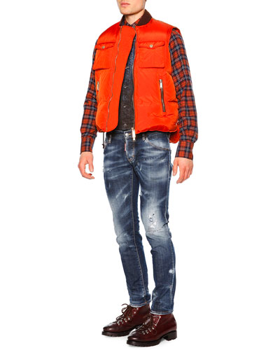 Zip-Front Puffer Vest, Distressed Mud Denim Vest, Plaid Button-Down Flannel Shirt & Paint-Splatter Distressed Denim Jeans