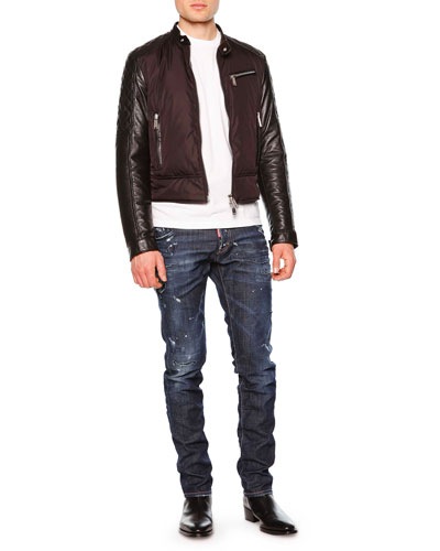 Mixed-Media Moto Jacket, Crewneck Tee with Barbed Wire Detail & Distressed Slim-Fit Denim Jeans