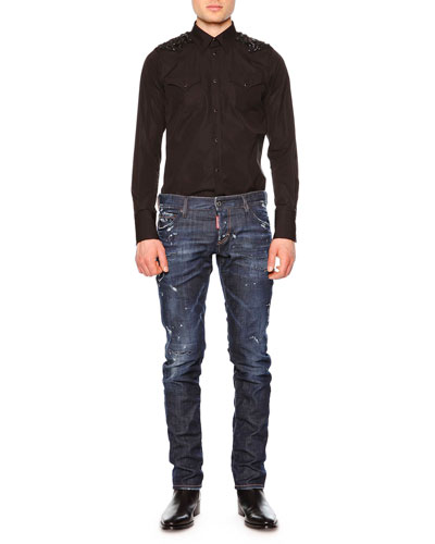 Western-Style Sport Shirt with Beaded Detail & Distressed Slim-Fit Denim Jeans