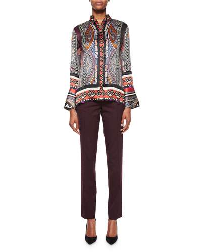 Mixed-Print Organza Blouse & Tapered Slim-Ft Pants