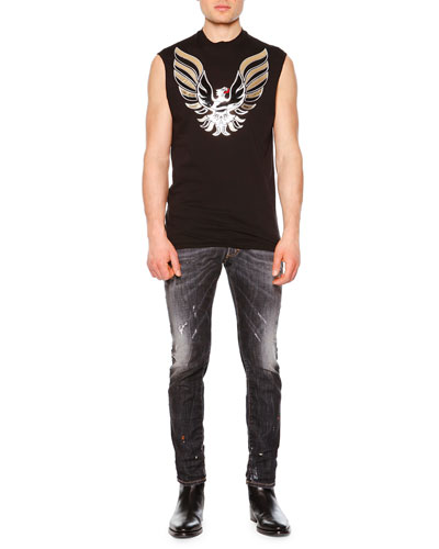 Eagle Patch Sleeveless Tee & Clement Faded & Distressed Denim Jeans