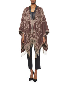Paisley-Print Cashmere Leather-Trimmed Poncho & Skinny-Fit Cropped Pants