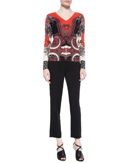 Paisley Foulard Sweater & Skinny-Fit Cropped Pants