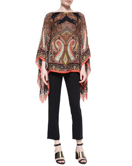 Paisley Silk Poncho & Skinny-Fit Cropped Pants