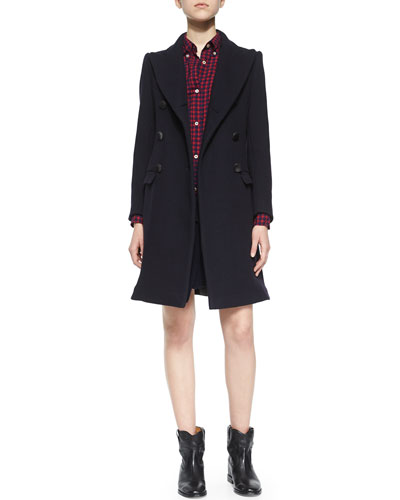 Carey Wool Coat, Ramon Blouse, Lyneth Mini Skirt & Cluster Ankle Boot