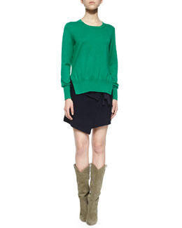 Kerstin Split-Side Sweater, Lyneth Asymmetric Wrap Mini Skirt & Nowles Shearling-Lined Lace-Up Bootie