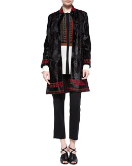 Laser-Cut Lamb Fur Coat, Silk Beaded-Bib Blouse & Skinny-Fit Cropped Pants