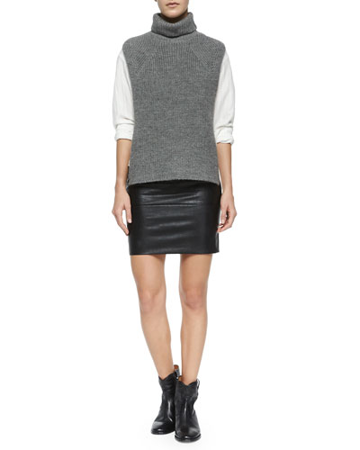 Lazuli Sleeveless Turtleneck Sweater, Ninon Shadow-Stripe Blouse, Jaws Leatherette Skirt & Cluster Hidden-Wedge Ankle Boot