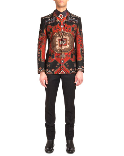 Persian-Print Two-Button Blazer, Persian-Print Long-Sleeve Shirt & Flannel Wool Trousers