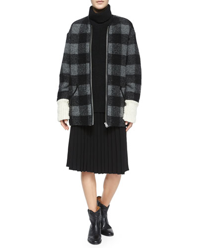 Gelicia Check Jacket w/Ribbed Cuffs, Laney Chunky Turtleneck Sweater, Mathilde Pleated Smock-Waist Skirt & Cluster Hidden-Wedge Ankle Boot