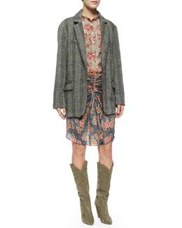 Silena Floral-Print Blouse, Sevan Floral-Print Skirt & Runa Suede Western Knee Boot