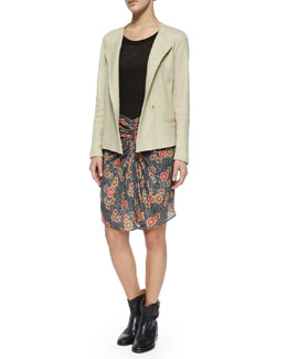 Denzel Wing-Lapel Jacket, Almon Short-Sleeve Cashmere Tee, Sevan Floral-Print Skirt & Cluster Hidden-Wedge Ankle Boot