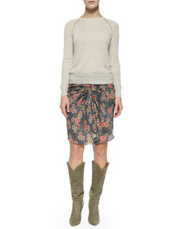 Foty Raglan-Sleeve Sweater, Sevan Floral-Print Skirt & Runa Suede Western Knee Boot
