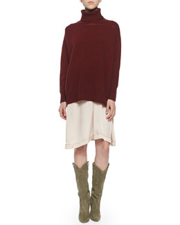 Marston Chunky Turtleneck, Volga Charmeuse Midi Skirt & Nowles Shearling-Lined Lace-Up Bootie