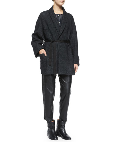 Dajo Jacket w/ Self Tie, Reece Gingham Button-Placket Blouse, Jan Leatherette Ankle Pants & Cluster Hidden-Wedge Ankle Boot