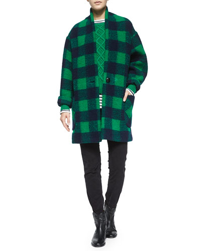 Gabrie Check Coat, Nilsen Cable-Knit Sweater, Karon Striped Linen Tee, Maxene Skinny Crop Pants & Cluster Hidden-Wedge Ankle Boot