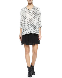 Ferone Floral-Print Blouse, Arielle Short Plisse Skirt & Cluster Hidden-Wedge Ankle Boot