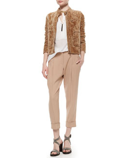 Shearling Pocket-Detailed Jacket, Long-Sleeve Georgette Henley Blouse, Woven Relaxed-Fit Ankle Pants, Multi-Strand Monili Beaded Choker Necklace & Two-Tone Tag Beaded Necklace
