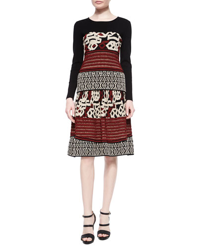 Long-Sleeve Multi-Texture Top & A-Line Skirt