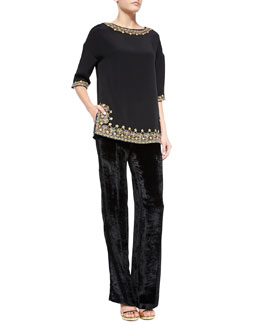 Silk Embroidered-Trim Tunic & Sheared Velvet Straight-Leg Pants