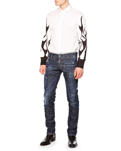Long-Sleeve Shirt with Flame Detail & Distressed Slim-Fit Denim Jeans