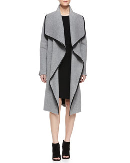 Drape-Front Leather-Trimmed Wool Coat & Faux-Leather-Trim T-Shirt Dress