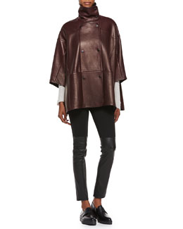 Double-Breasted Leather Cape, Directional Ribbed Cashmere Sweater & Mixed Media Leather Leggings