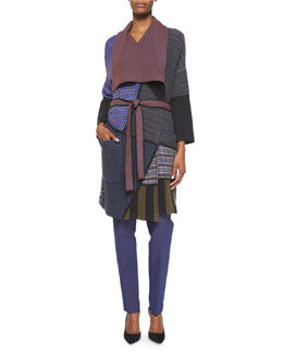Patchwork Knit Wrap Coat & Medallion Jacquard Slim-Fit Pants
