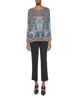 Paisley Tile-Print Crepe Blouse & Skinny-Fit Cropped Pants