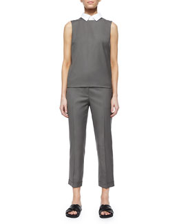Audressa Classy Wool Top with Detachable Collar & Mustadio Classy Cropped Wool Pants
