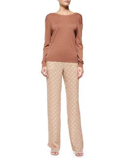 Karinalee Preen Long-Sleeve Top & Mitrana Foulard-Print Trousers